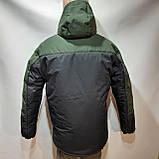 Зимняя теплая мужская куртка на кашемире с капюшоном Зеленая с черным, фото 2