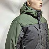 Зимняя теплая мужская куртка на кашемире с капюшоном Зеленая с черным, фото 8