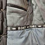 Зимняя теплая мужская куртка на кашемире с капюшоном Зеленая с черным, фото 10