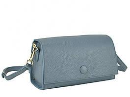 Женская сумка-багет кожаная голубая Riche W14-7727BL