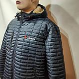 Мужская зимняя куртка (Больших размеров) подкладка овчина на резинке Турция  темно синий, фото 3