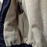 Мужская зимняя куртка (Больших размеров) подкладка овчина на резинке Турция  темно синий, фото 4