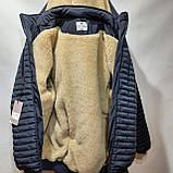 Мужская зимняя куртка (Больших размеров) подкладка овчина на резинке Турция  темно синий, фото 8