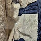 Мужская зимняя куртка (Больших размеров) подкладка овчина на резинке Турция  темно синий, фото 6
