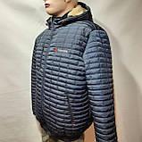 Мужская зимняя куртка (Больших размеров) подкладка овчина на резинке Турция  темно синий, фото 10