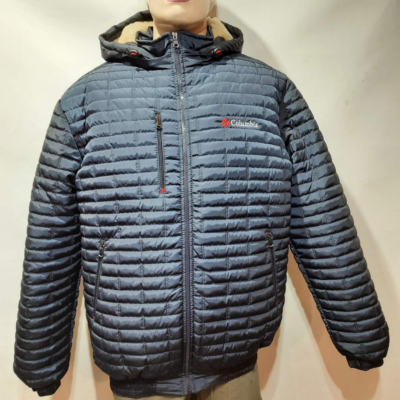 Мужская зимняя куртка (Больших размеров) подкладка овчина на резинке Турция  темно синий