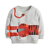 Кофта детская, свитшот, серая. Тигр.