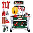 Игровой набор для мальчика мастерская, инструменты, верстак, каска, фото 2