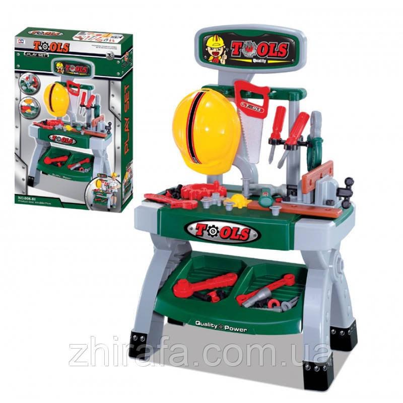 Игровой набор для мальчика мастерская, инструменты, верстак, каска