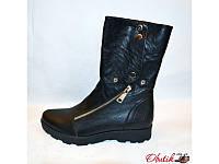Ботинки женские высокие осенние Украина кожаные сбоку змейка Uk0041