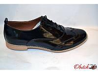 Туфли-оксфорды женские Украина лаковая кожаные темно-коричневые Uk0023