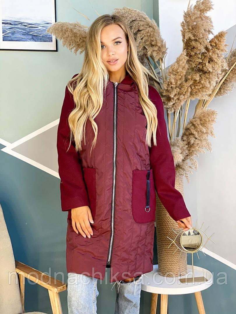 Пальто с кашемировым рукавом