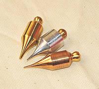 Набор маятников для  биолокации, 3 шт. из разного металла: латунь, бронза, алюминий (форма - бочка)