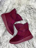 Ботинки женские зимние 8 пар в ящике бордового цвета 36-41, фото 4