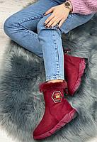 Ботинки женские зимние 8 пар в ящике бордового цвета 36-41, фото 2