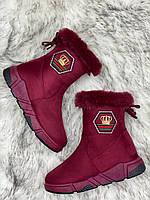 Ботинки женские зимние 8 пар в ящике бордового цвета 36-41, фото 5