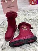 Ботинки женские зимние 8 пар в ящике бордового цвета 36-41, фото 6