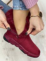 Ботинки женские зимние 8 пар в ящике бордового цвета 36-41, фото 7