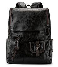 Рюкзак чоловічий чорний екокожа Etonweag