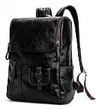 Рюкзак чоловічий чорний екокожа Etonweag, фото 2