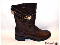 Ботинки женские высокие осенние Украина кожаные черные коричневые Uk0048