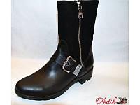 Ботинки женские высокие осенние Украина кожаные верх замша Uk0040