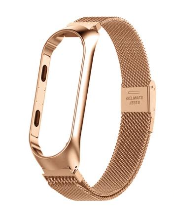 Металлический браслет цвет Золото Gold для фитнес трекера Xiaomi mi band 4 / 3 вариант №2 ремешок аксессуар