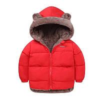 Куртка детская зимняя двусторонняя с ушками, капюшоном, красная размер 110