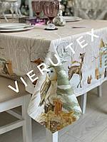 Новогодняя скатерть WSI Сказка лесная с защитным покрытием 145см на 215см 100% хлопок