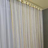 Штори нитки з камінням   Нитяні штори   Готові штори   Якісні штори з камінням   Біло-бежево-золотисті штори, фото 2