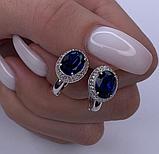 Родированые серьги с синим цирконом Магия, фото 2