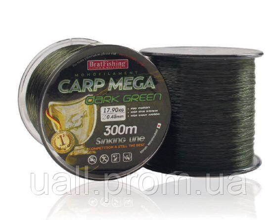 Волосінь Bratfishing CARP MEGA - DARK GREEN 300m 0,35mm