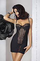 Сорочка приталенная с чашечками Passion Exclusive ZOJA CHEMISE, Черный, L/XL, фото 1