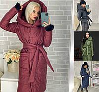 Р 42-56 Зимний пуховик-пальто на запах 23253