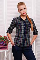 Женская клетчатая рубашка с длинным рукавом, фото 1