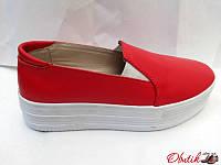 Слипоны женские Украина кожаные красные Uk0062