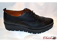 Туфли-броги женские закрытые Украина кожаные черные Uk0072