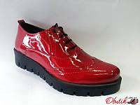 Туфли-броги женские закрытые Украина лаковая кожа красные Uk0070