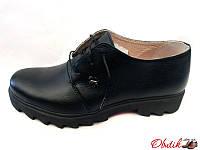 Туфли женские закрытые Украина кожаные черные Uk0074