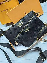 Модна жіноча сумка Louis Vuitton Луї Вітон 3 в 1 чорний колір (повний комплект)