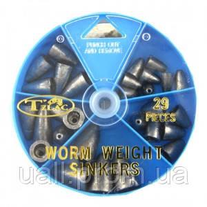Набір грузил Takamiya Worm Weight Sinkers TG-520(29шт)*