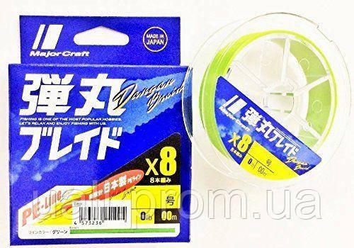 Шнур Major Craft Bullet Blade X8 150м PE0.6 Green (14lb)