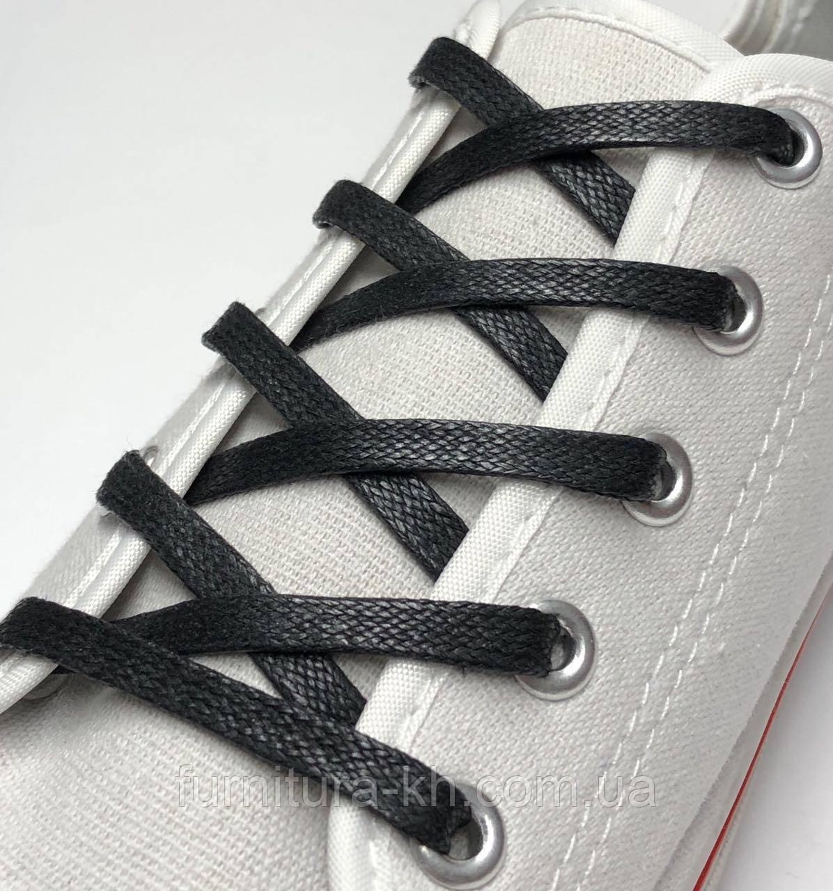Шнурки для Обуви 200 см. Плоская Пропитка (5 мм) Цвет Черный