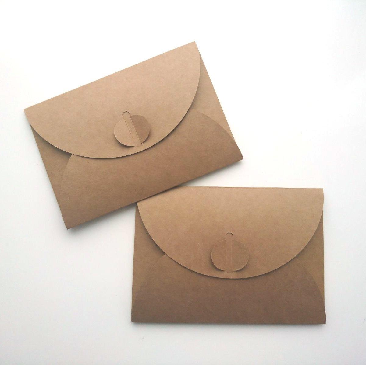 Подарочный конверт из эко крафт-картона, 60х90 мм, 225 гр/кв.м