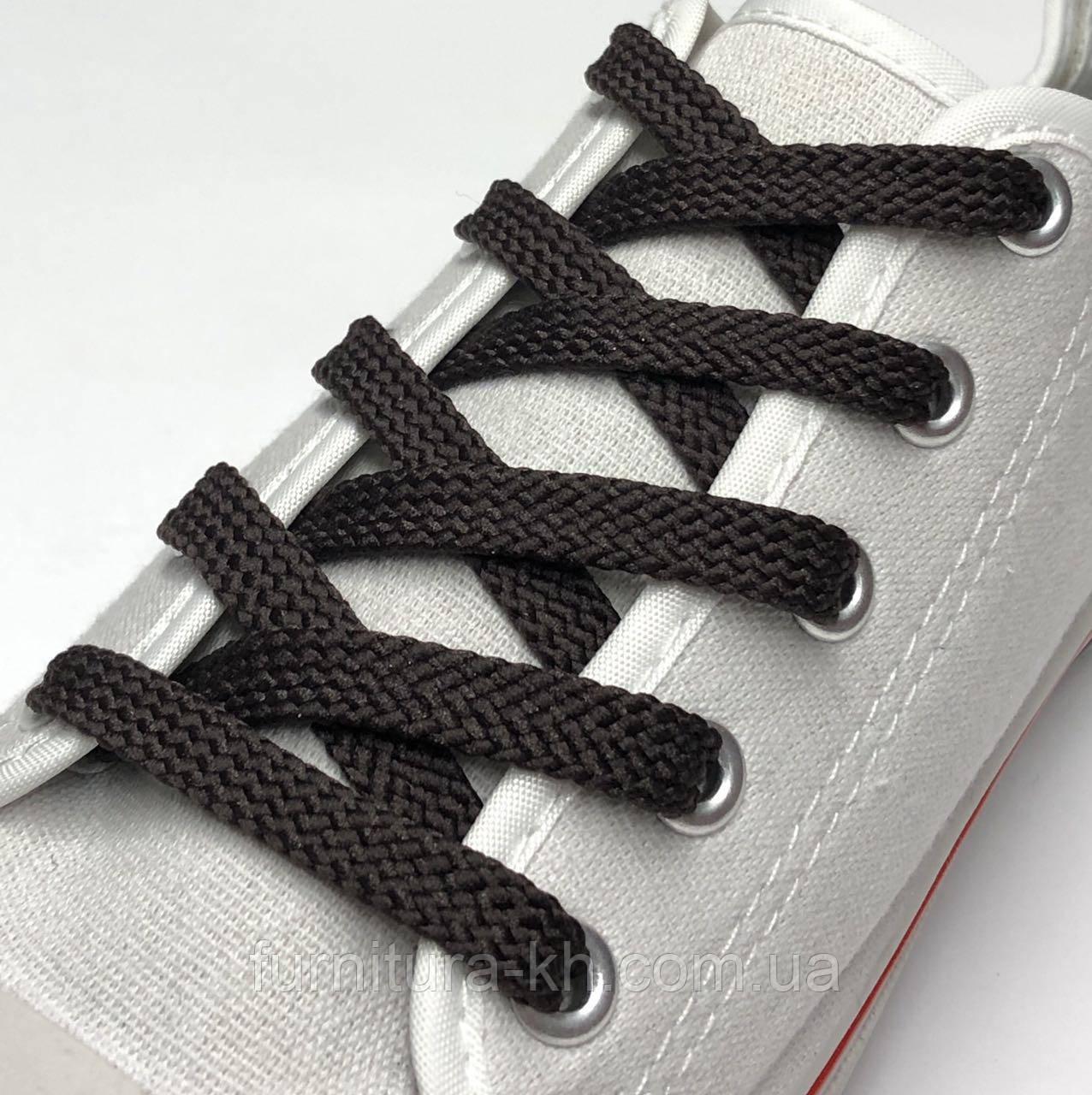 Шнурки для Обуви 200 см. Простой Плоский (7 мм) Цвет Темно Коричневый
