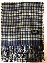Мужской однотонный классический  тёплый шарф сине-бежевый