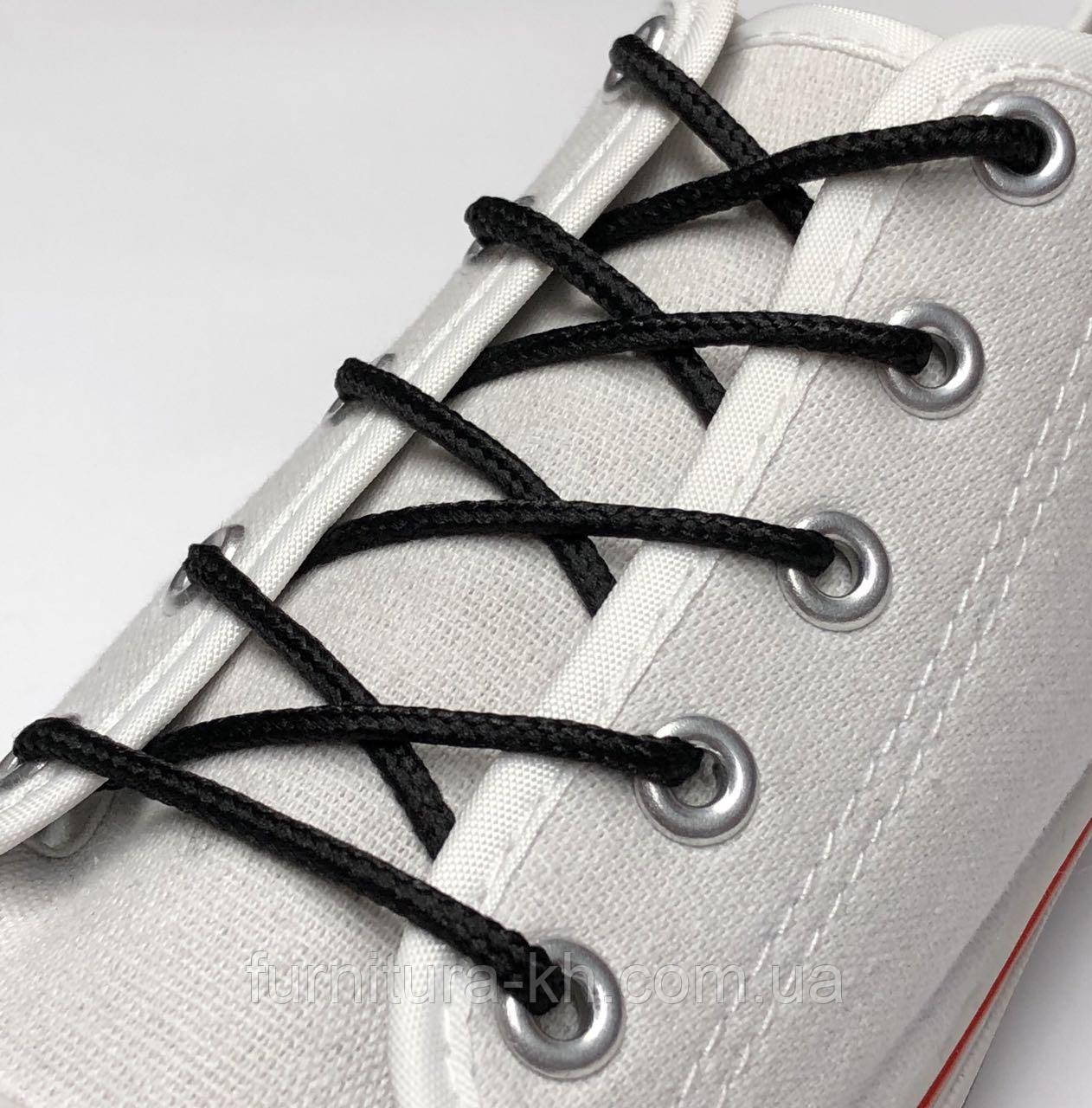 Шнурки для Обуви 200 см. Простой Круглый (4 мм) Цвет Черный