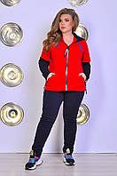 Женский теплый спортивный костюм с кофтой на молнии батал, фото 1