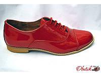 Туфли-оксфорды женские Украина лаковая кожа красные Uk0094