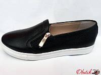 Туфли-слипоны, мокасины женские Oog кожаные черные Oog0018
